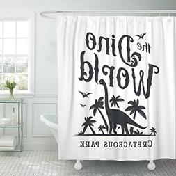 VaryHome Shower Curtain Dino World Dinosaur Park Logotype Di