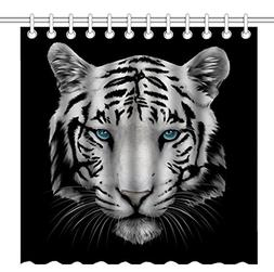 Wknoon 72 x 72 Inch Shower Curtain, Cool White Tiger Head Wi