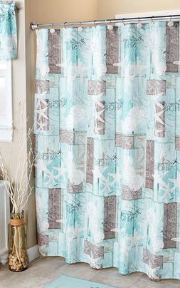 Coastal Shower Curtain Fabric Bathroom Accessories Seashells