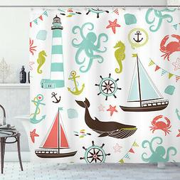Shower Curtain Fabric Decor for Bathroom with 12 Hooks Ambes