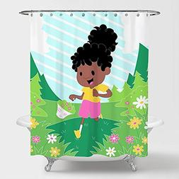 African American Shower Curtain Art for Kids Bathroom with G