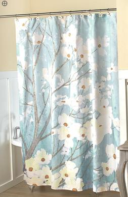 Shower Curtain Floral Fabric Dogwood Blossoms Blue Flower Ba
