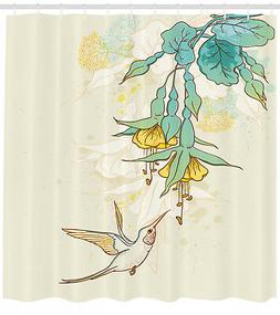 Shower Curtain Flowers Hummingbird Tropical Floral Patterns