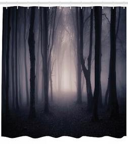 Shower Curtain Forest Path in Misty Dark Jungle with Fog 84