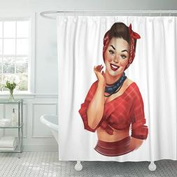 VaryHome Shower Curtain Girl Retro Pin Up Woman with Red Che