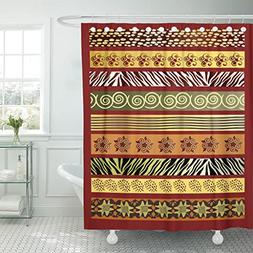 TOMPOP Shower Curtain Green Tribal of African in Earth Tones