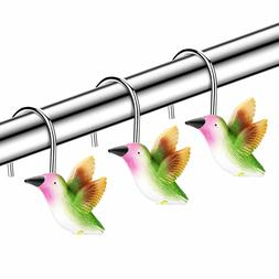 Shower Curtain Hooks, 12 PCS Anti-Rust Decorative Hummingbir