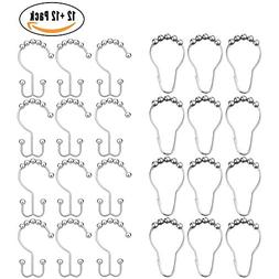 24 Pack Shower Curtain Hooks,AUTIDEFY Stainless Steel Double