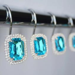 Shower Curtain Hooks Rings - Luxurious Crystal Rhinestone Di