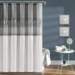 Shower Curtain in Gray and White