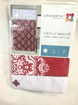 Shower curtain interiors by design 70in X 72in red & white