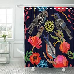 TOMPOP Shower Curtain Japanese Garden Oriental with Victoria