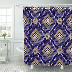 VaryHome Shower Curtain Lattice Geometric Modern Blue with 3
