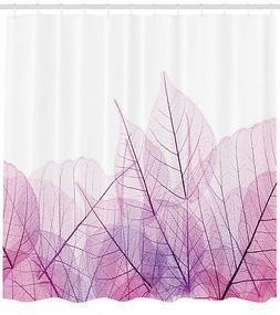 Shower Curtain Leaves Decor Elegant Design Pink Purple 84 In