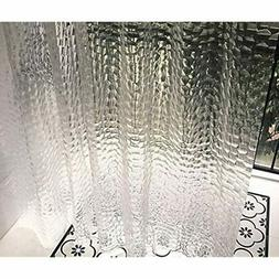 """Ryhpez Shower Curtain Liner - Clear Set With Hooks 72""""x72"""" H"""