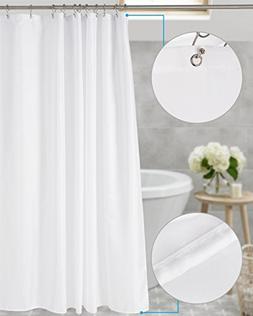 Amazer Shower Curtain, White Polyester Fabric Shower Curtain