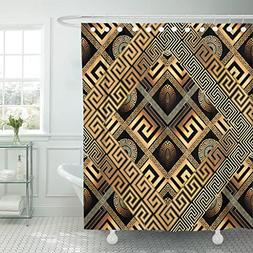 TOMPOP Shower Curtain Modern Meander Abstract Black Gold Gre