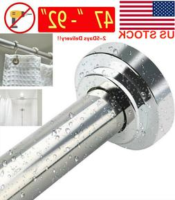 Shower Curtain Never Collapse Rod Non-Slip Tension Stainless