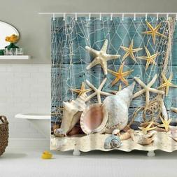 Shower Curtain Ocean Beach Sea Shell Starfish Fishing Net Ba