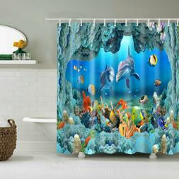 Shower Curtain Ocean Style Underwater World Dolphin 3D Print