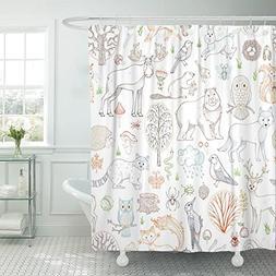TOMPOP Shower Curtain Outlined Woodland Wild Animals Birds a