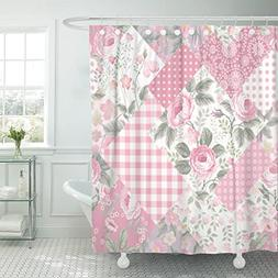TOMPOP Shower Curtain Pink Butterfly Patchwork Floral Patter