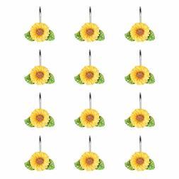 Shower Curtain Ring Hooks Sunflower Bathroom Decor Rustic St