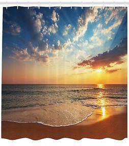 Shower Curtain Sea Scenery Romantic Sunset Orange Yellow 84