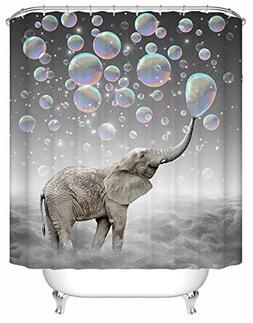 Livilan Shower Curtain Set,Cute Elephant Play Bubbles Print,