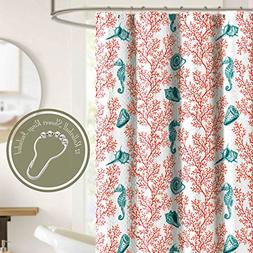 Shower Curtain Set with 12 Roller Hooks Rings Coral Red and