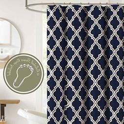 Shower Curtain Set with 12 Roller Hooks Rings Navy Blue Quat