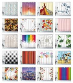 """Shower Curtain Set 70"""", 75"""", 84"""" by Ambesonne with 12 Hooks"""