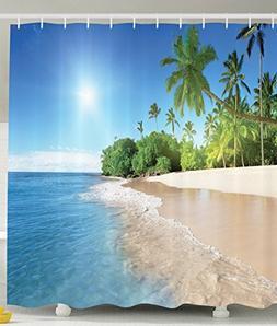 Shower Curtain Set Beach Sea Tropical Palm Tree Leaves Water