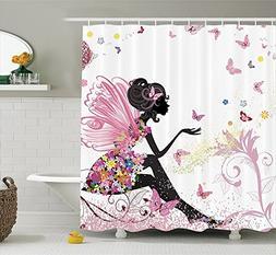 Shower Curtain Set Butterfly Floral Girls Bathroom House Dec