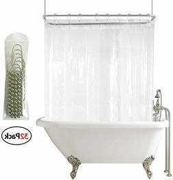 Shower Curtain Set Clawfoot Tub Liner Wrap Around Waterproof