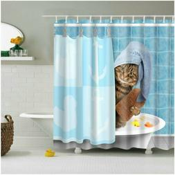 Shower Curtain Set Funny Kitten Cat Bathing Decor Bathroom C