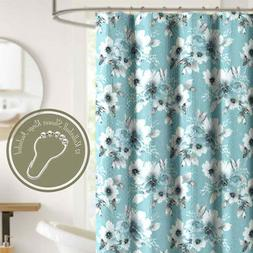 Shower Curtain Set with Ring Hooks Blue Gray Floral Soft Cri