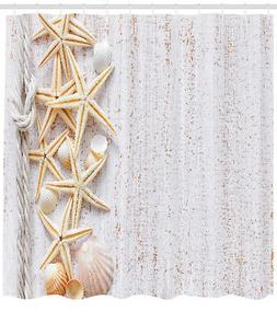 Shower Curtain Shell Decor Starfish Ocean Beach Themed 70 In