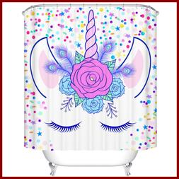 Shower Curtain Stars & Unicorn Polyester Fabric Set W Hooks