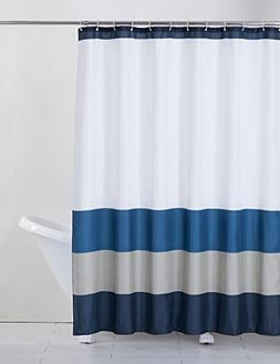 Rama Rose Shower Curtain Stripe with Hooks for Bathroom, Tre