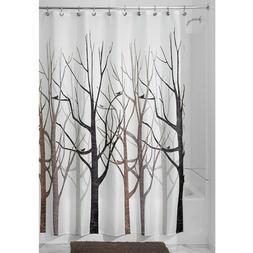 Shower Curtain Tree Forest Bird Black Grey Brown