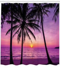 Shower Curtain Tropical Island at Romantic Sunset Magenta 84