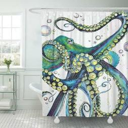 Emvency Shower Curtain Vintage Colorful Fashion Octopus Pain