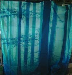 AMBESONNE SHOWER CURTAIN W/ CURTAIN RINGS FOREST IN THE MIST