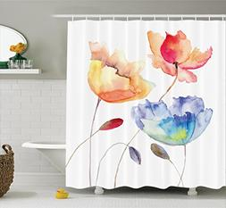 Ambesonne Watercolor Flower Decor Shower Curtain Set, Summer