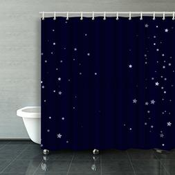 Emvency Shower Curtain Waterproof Dark Blue Starry Star Fall