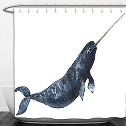 Beshowere Shower Curtain Whale Aquatic Animal Narwhal Fish S
