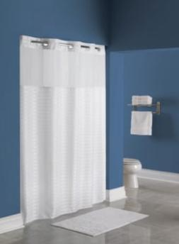 Hookless Shower Curtain White Litchfield Pattern Polyester F