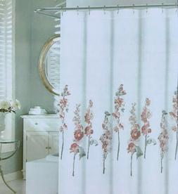 Tahari Home Shower Curtain White w/ Pink, Burgundy, Gray  Co