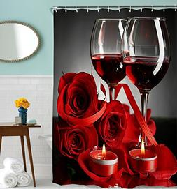 Goodbath Shower Curtain, Rose Red Wine Romantic lovers Water